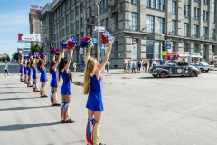 Marching girls welcome the rally in Novosibirsk, Russia
