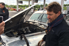 Bas filling up with petrol on 5 July, last Russian stop before crossing to Belarus