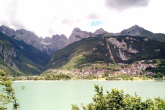 The rally stops for lunch at Lake Molveno, Italy