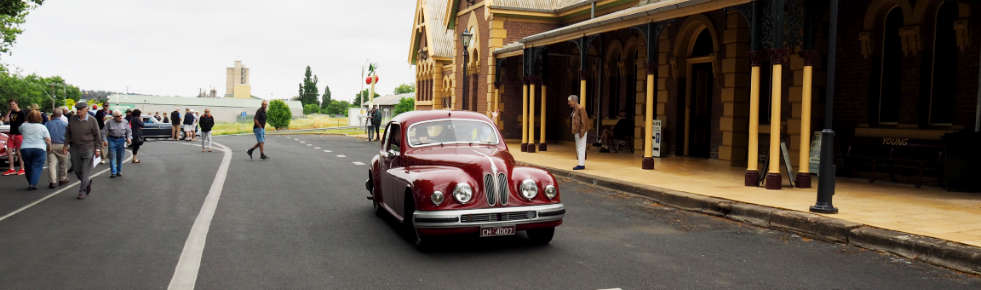 Bristol 403 drives past Young railway station, NSW