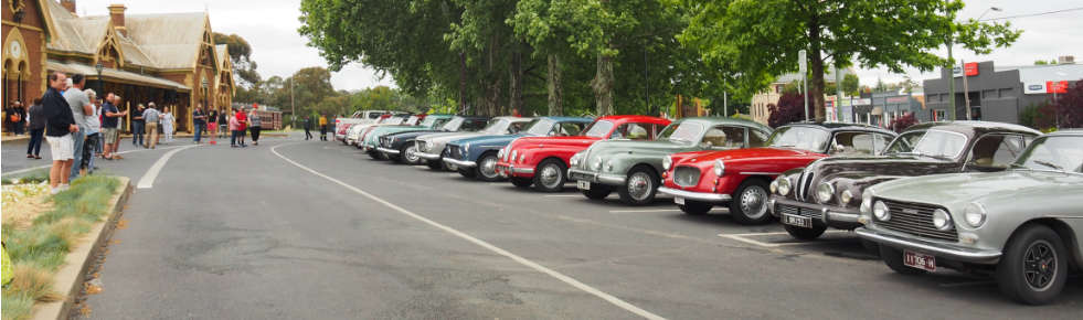 Bristol cars on show at Young railway station, NSW